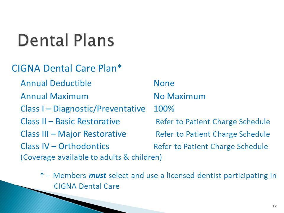 Dental Plans CIGNA Dental Care Plan* Annual Deductible None