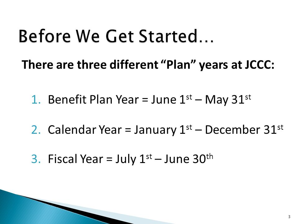 Before We Get Started… There are three different Plan years at JCCC:
