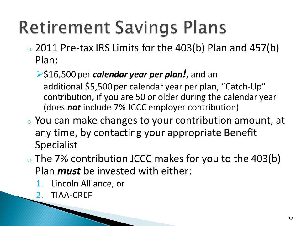 Retirement Savings Plans