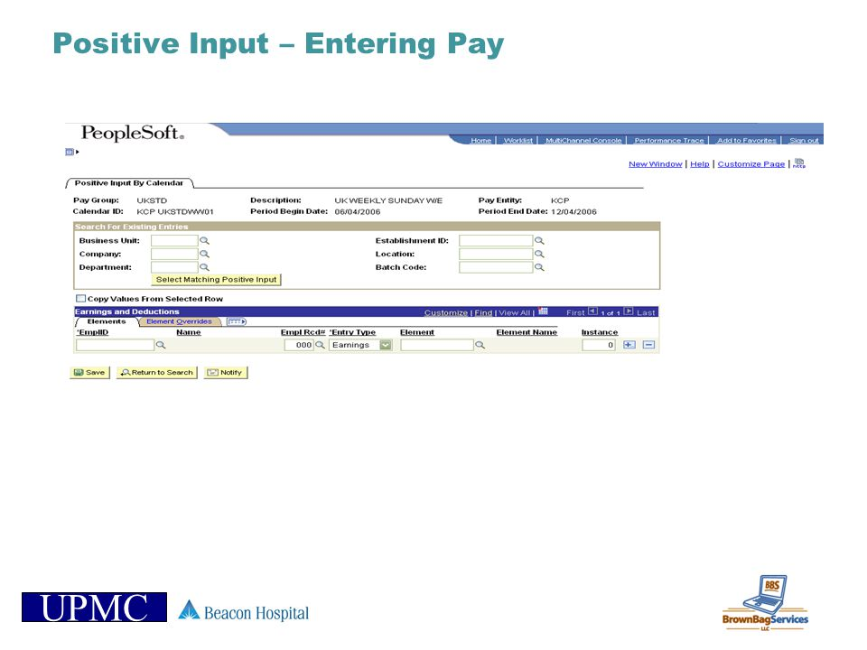 Positive Input – Entering Pay