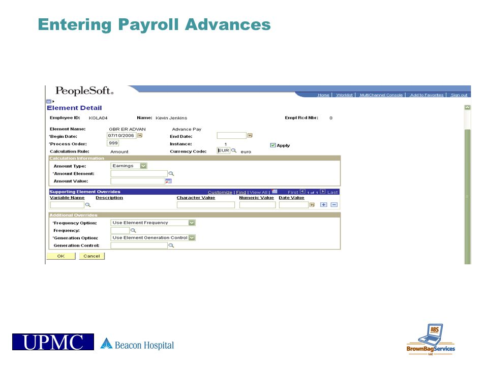 Entering Payroll Advances
