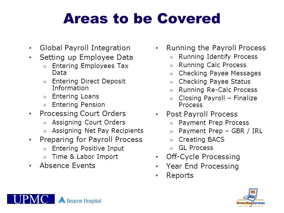 Areas to be Covered Global Payroll Integration