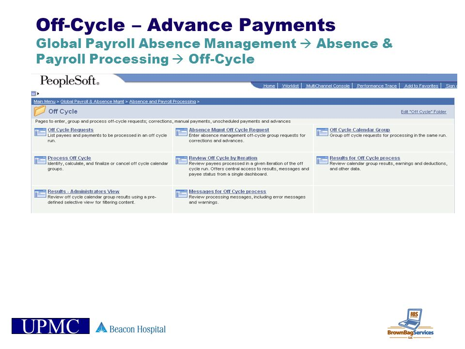 Off-Cycle – Advance Payments Global Payroll Absence Management  Absence & Payroll Processing  Off-Cycle