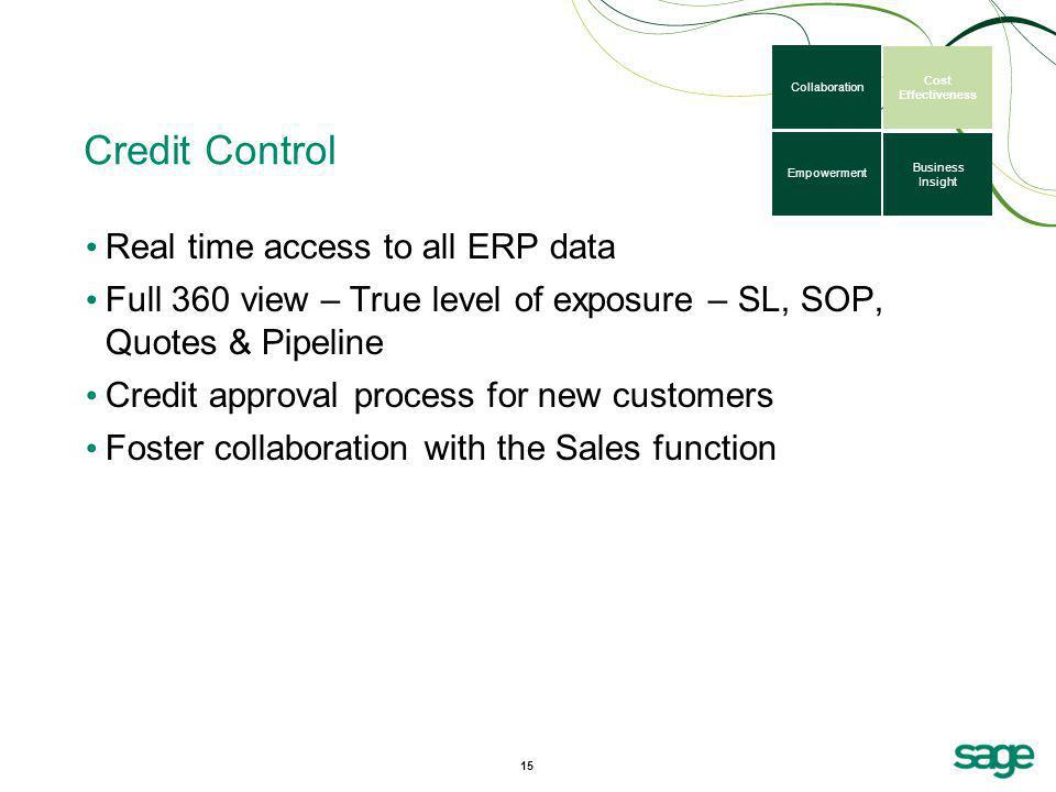 Credit Control Real time access to all ERP data