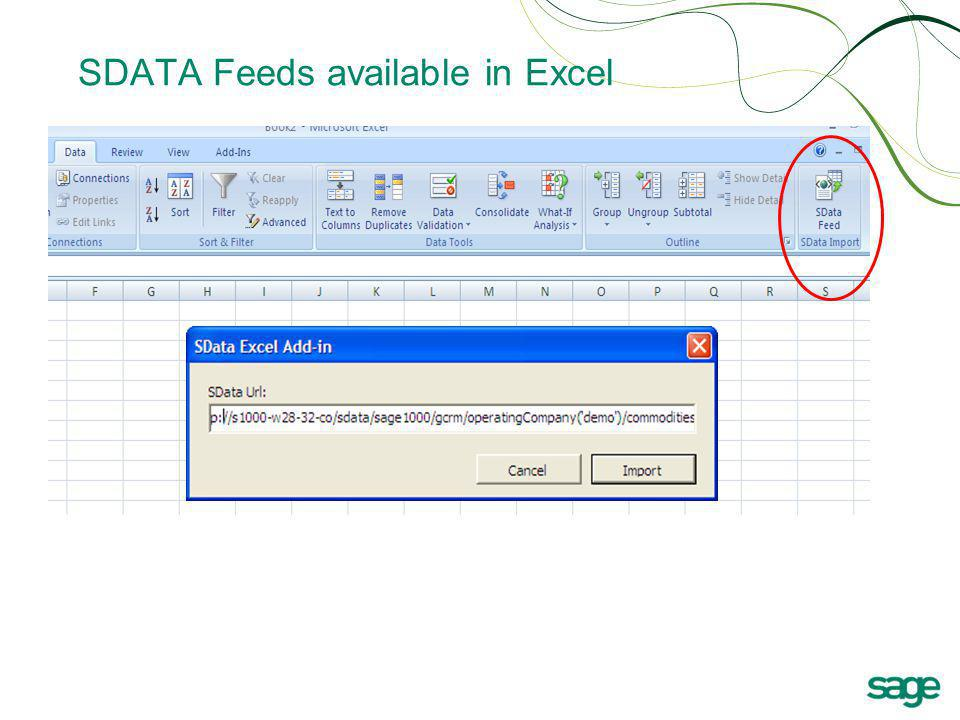 SDATA Feeds available in Excel