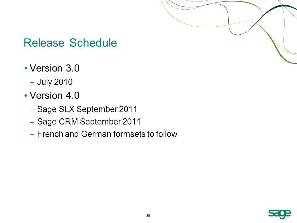 Release Schedule Version 3.0 Version 4.0 July 2010