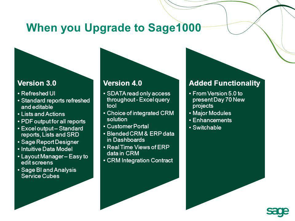 When you Upgrade to Sage1000