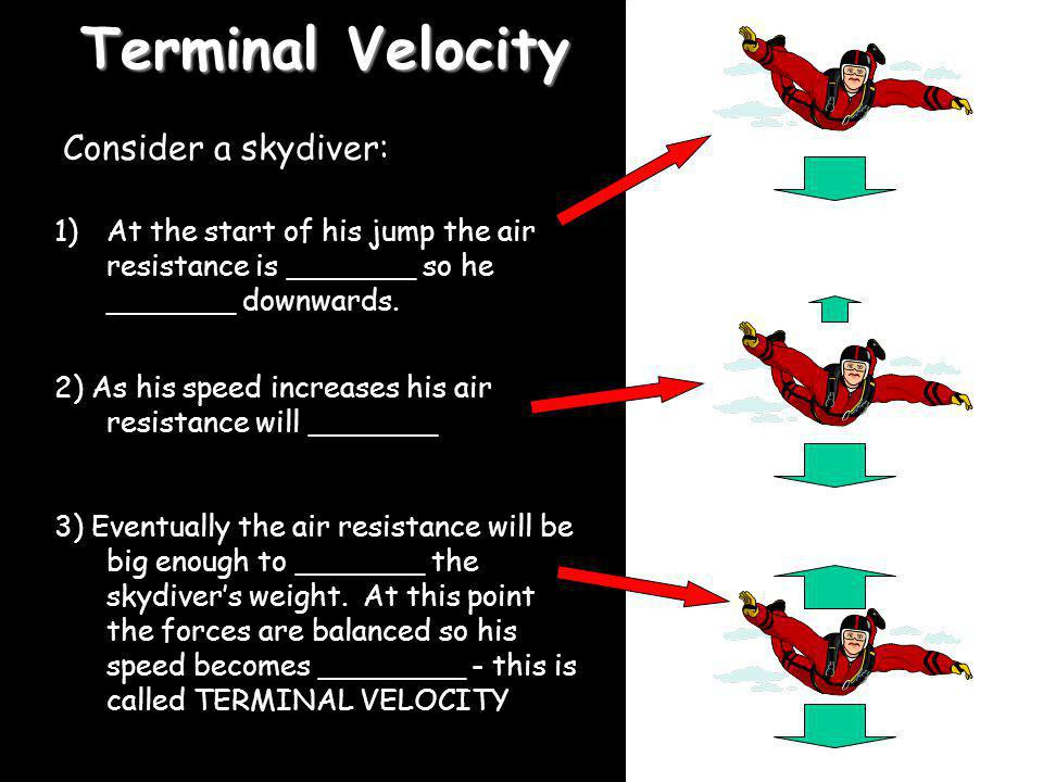 Terminal Velocity Consider a skydiver: