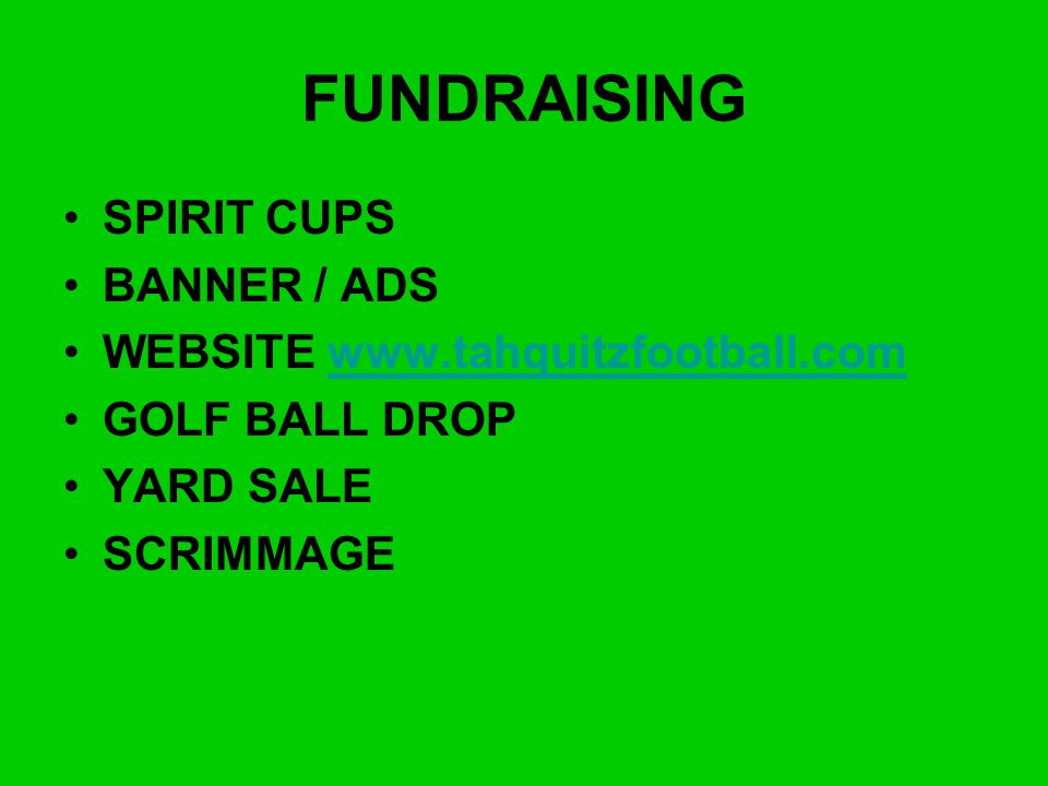 FUNDRAISING SPIRIT CUPS BANNER / ADS WEBSITE www.tahquitzfootball.com