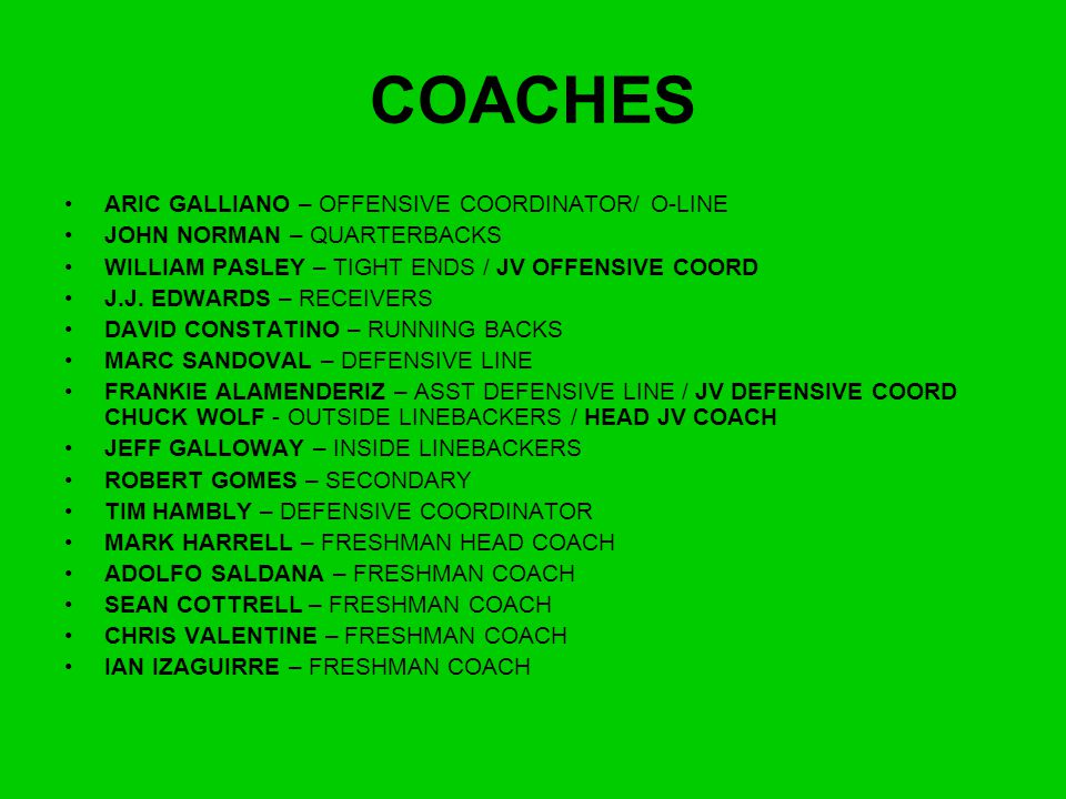 COACHES ARIC GALLIANO – OFFENSIVE COORDINATOR/ O-LINE