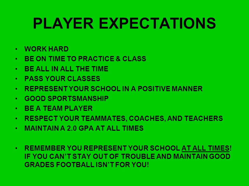 PLAYER EXPECTATIONS WORK HARD BE ON TIME TO PRACTICE & CLASS