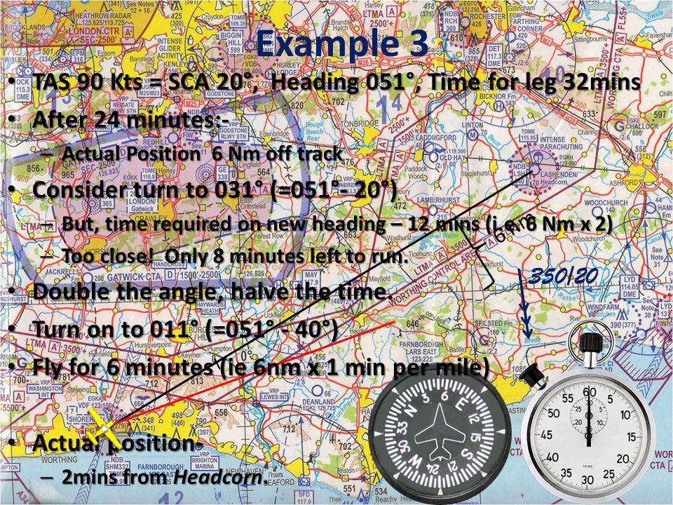 Example 3 TAS 90 Kts = SCA 20°, Heading 051°, Time for leg 32mins