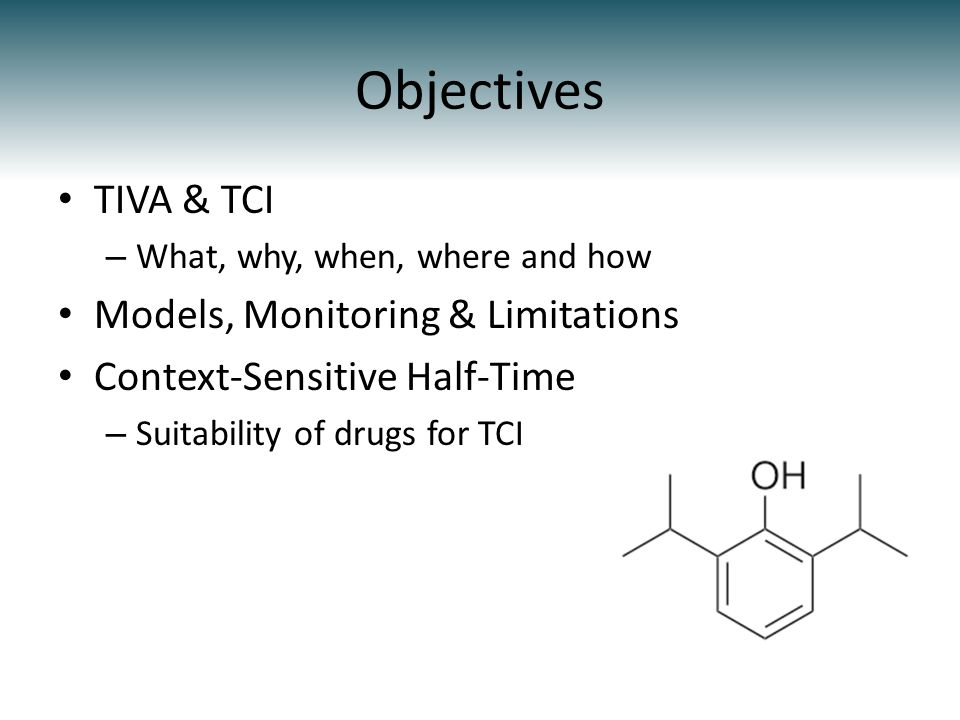 Objectives TIVA & TCI Models, Monitoring & Limitations