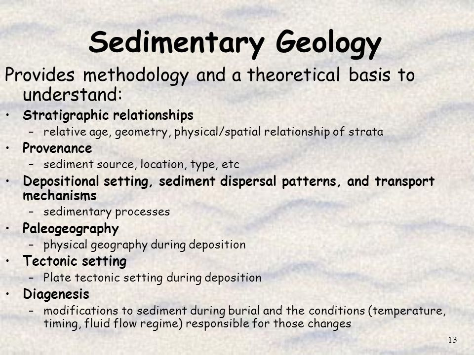 Sedimentary Geology Provides methodology and a theoretical basis to understand: Stratigraphic relationships.