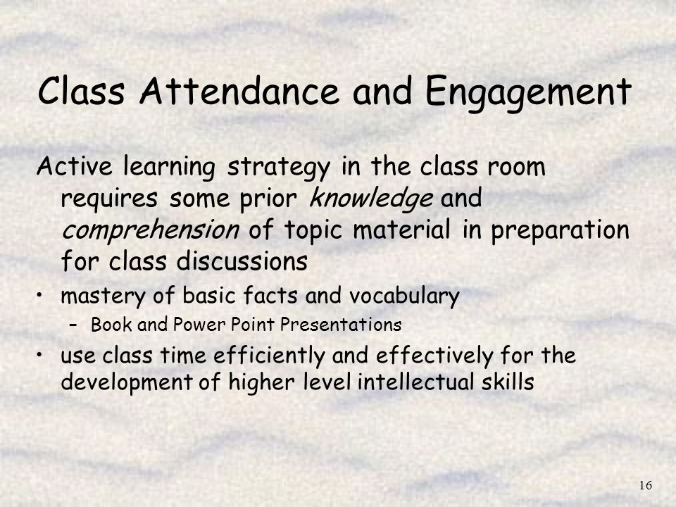 Class Attendance and Engagement