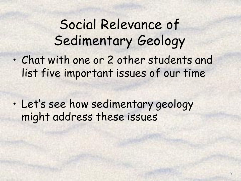 Social Relevance of Sedimentary Geology