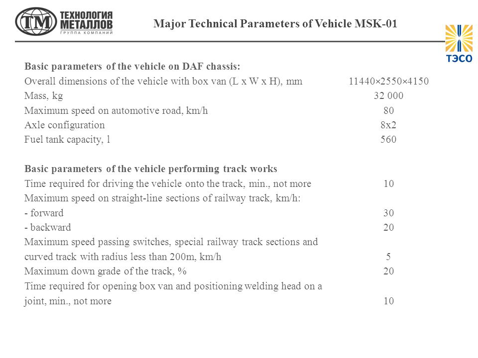 Major Technical Parameters of Vehicle MSK-01