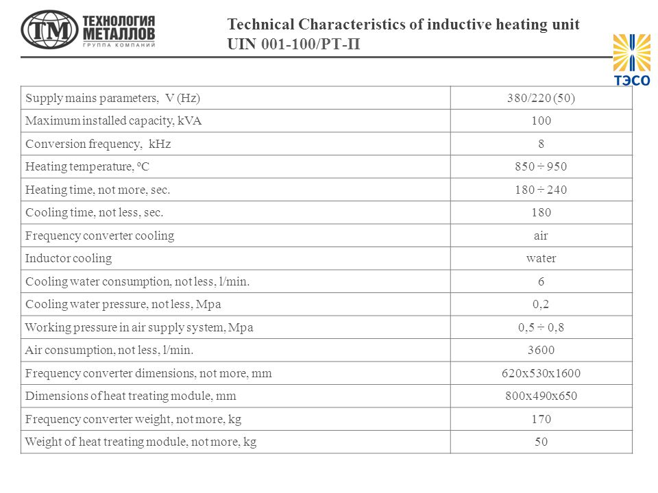 Technical Characteristics of inductive heating unit UIN 001-100/РТ-П