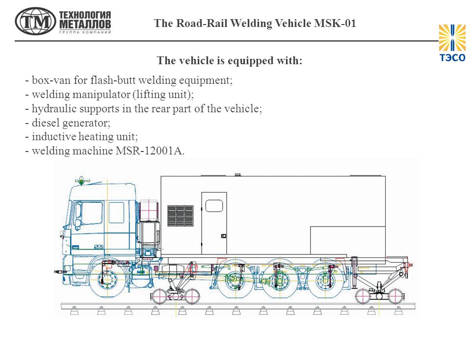 The Road-Rail Welding Vehicle MSK-01 The vehicle is equipped with: