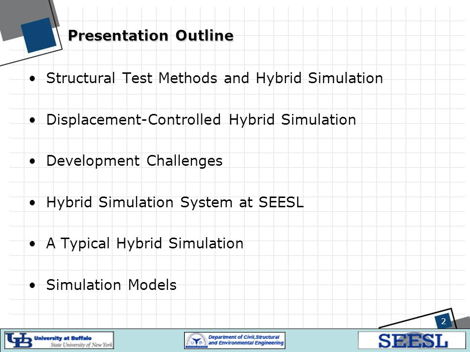 Presentation Outline Structural Test Methods and Hybrid Simulation. Displacement-Controlled Hybrid Simulation.