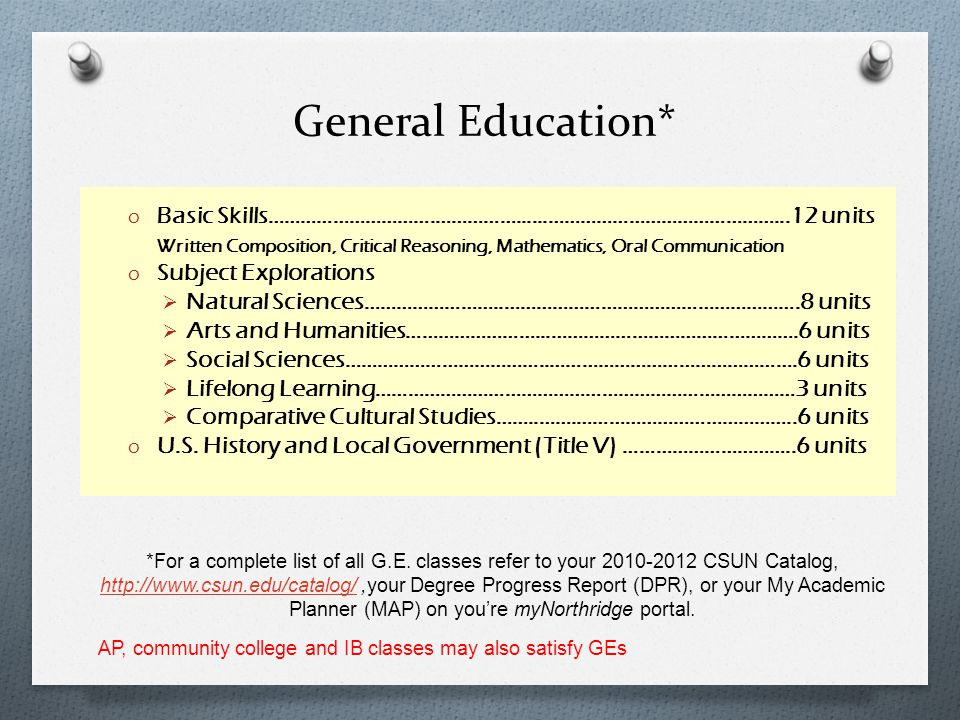 General Education* Basic Skills………………………….……………......……………………………………...12 units.