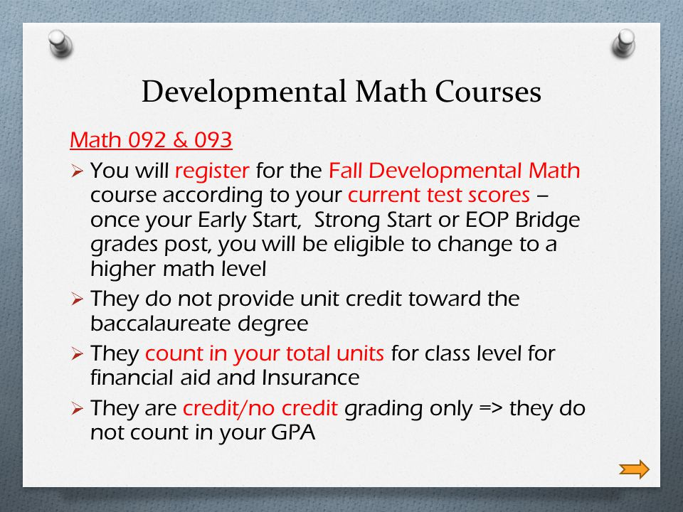 Developmental Math Courses