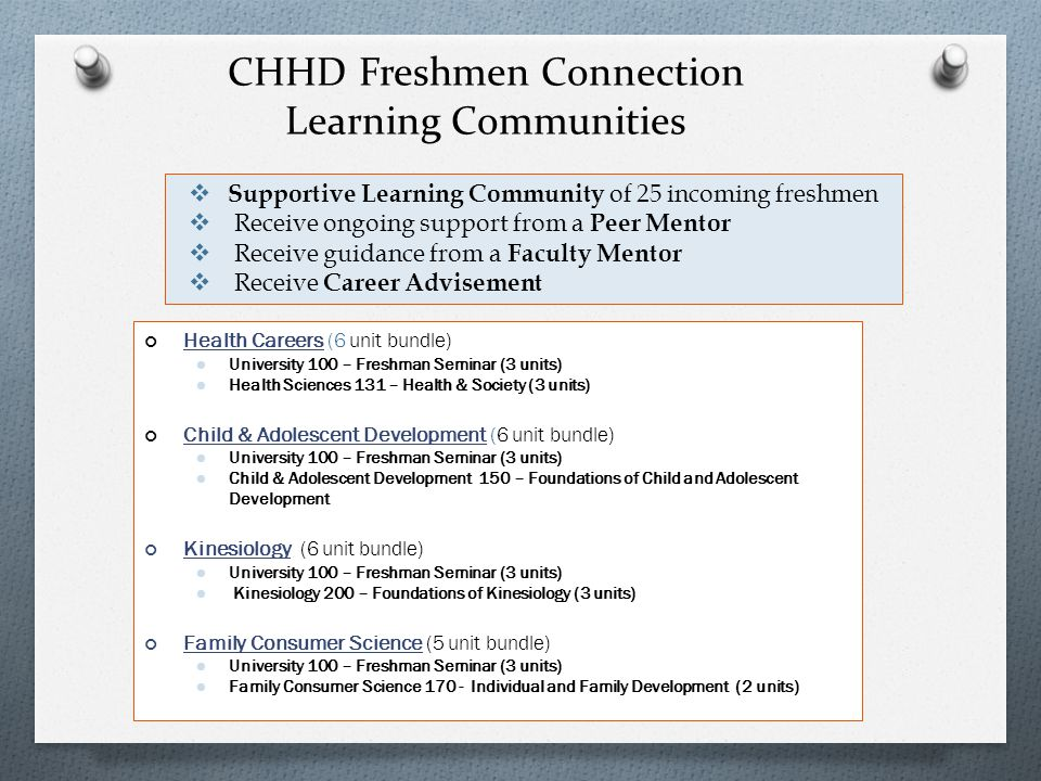 CHHD Freshmen Connection Learning Communities