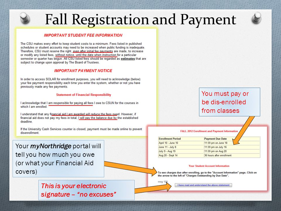Fall Registration and Payment
