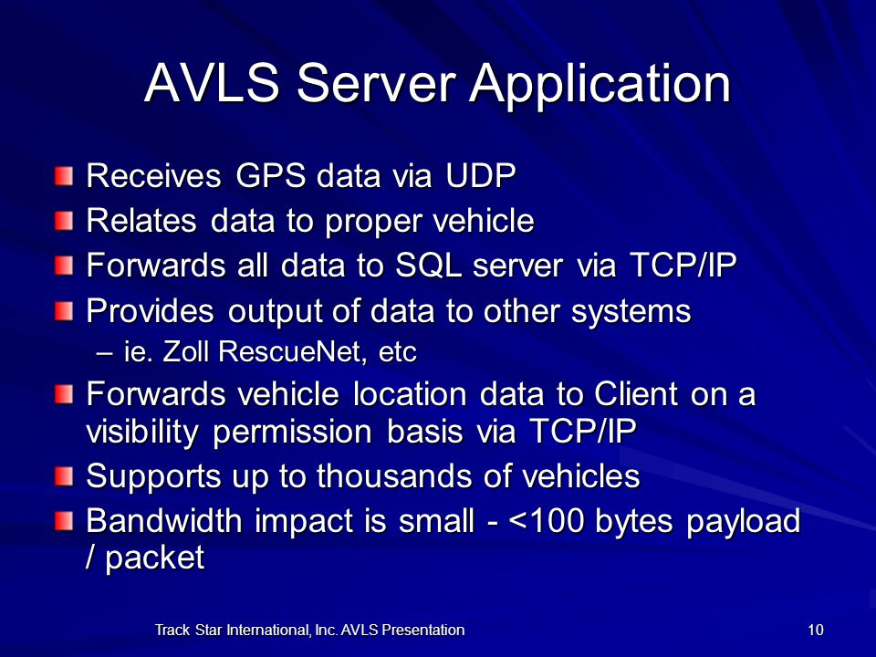 AVLS Server Application