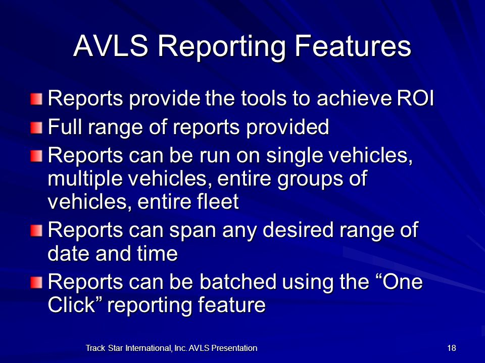 AVLS Reporting Features