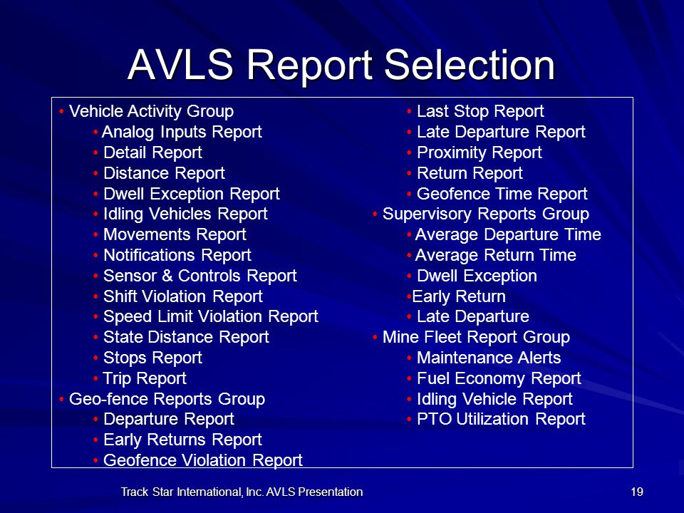 Track Star International, Inc. AVLS Presentation