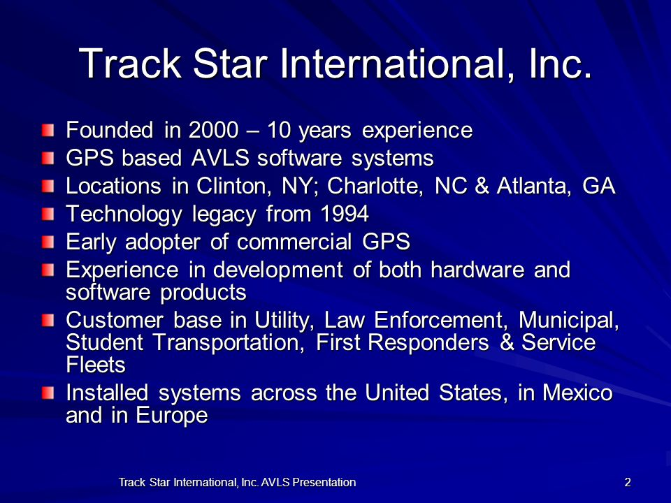 Track Star International, Inc.