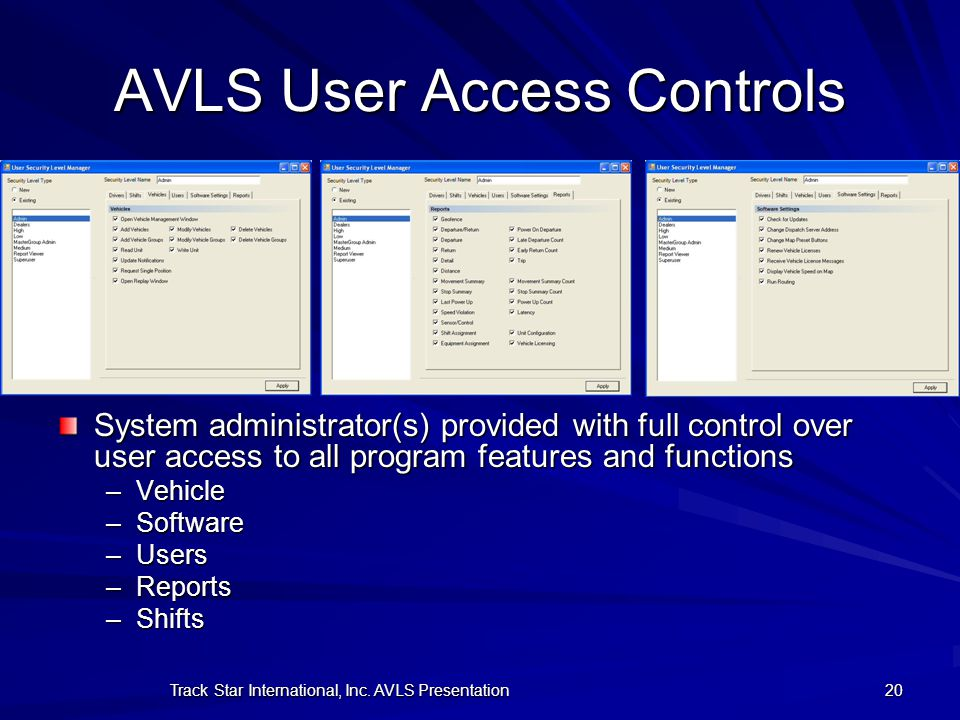 AVLS User Access Controls