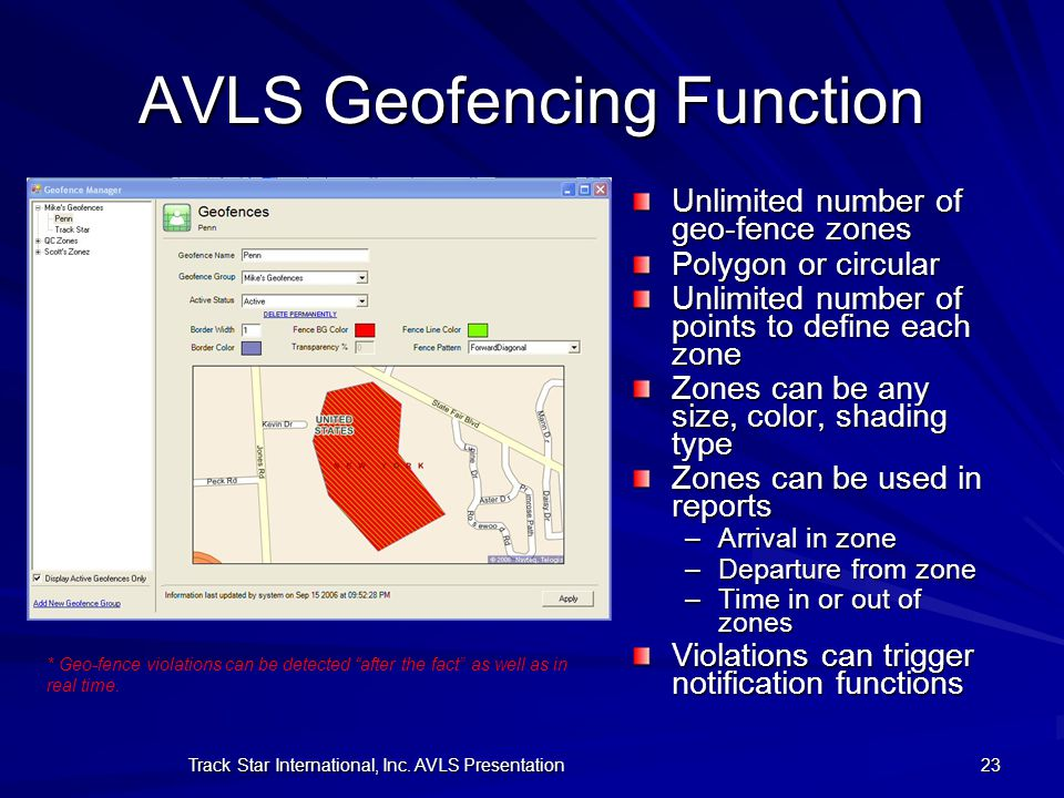 AVLS Geofencing Function