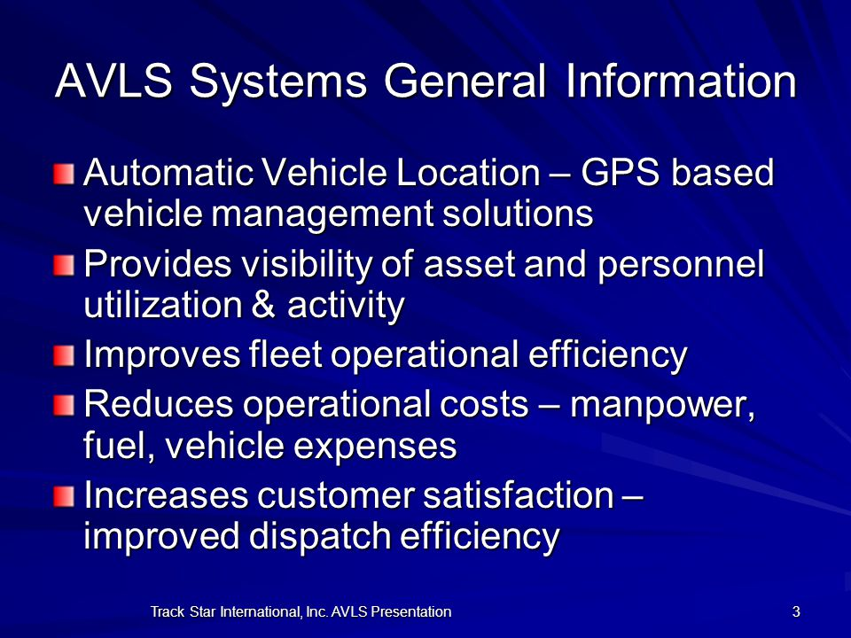 AVLS Systems General Information