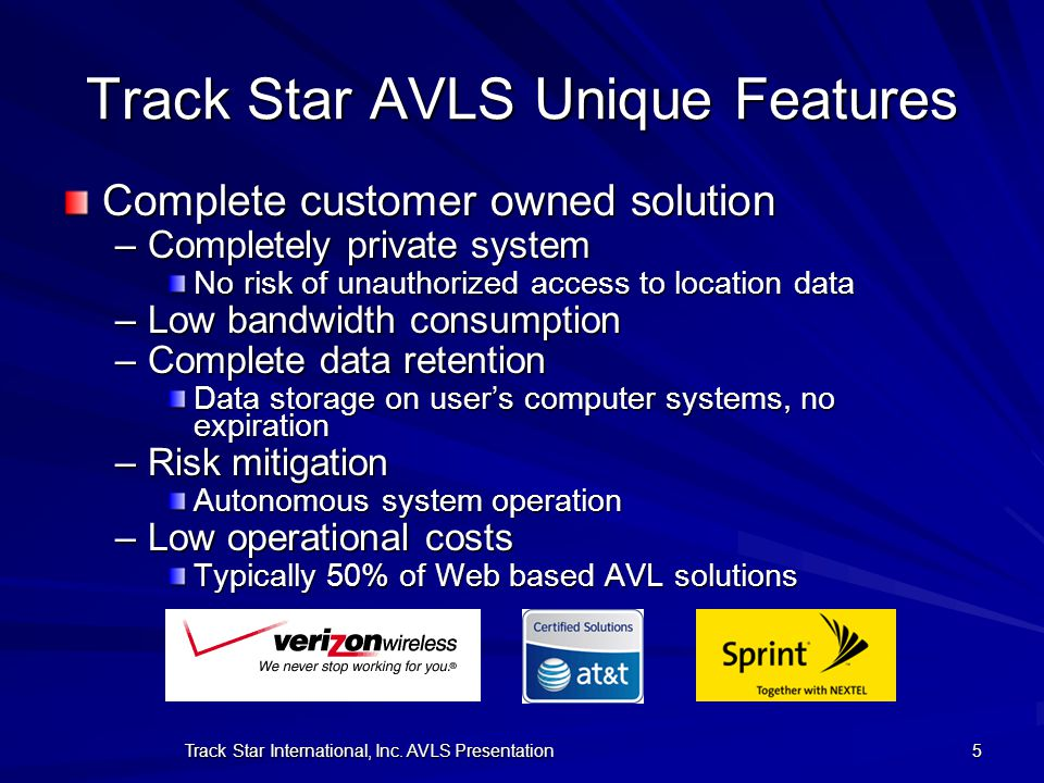 Track Star AVLS Unique Features