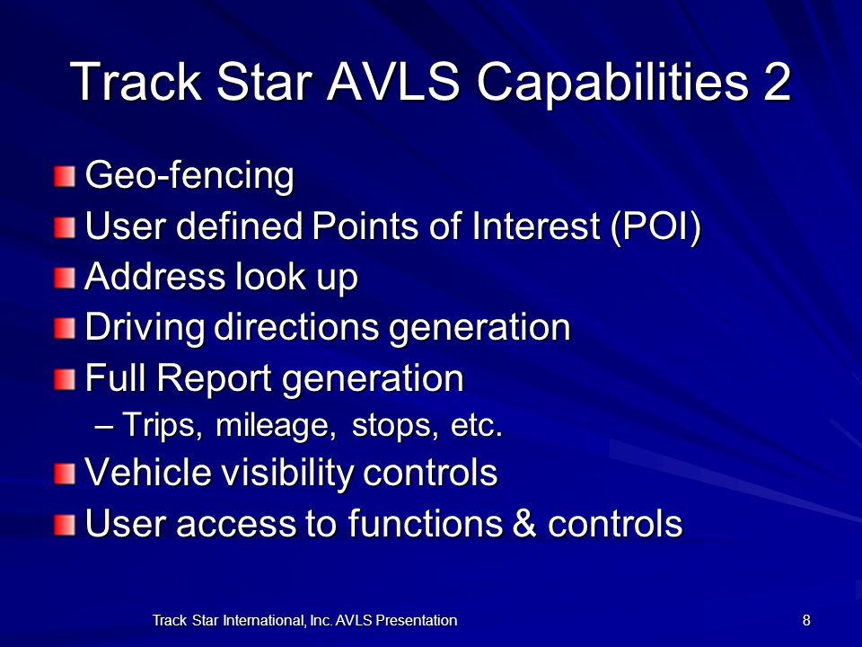 Track Star AVLS Capabilities 2