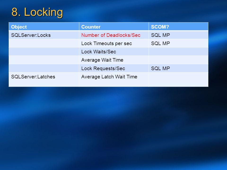 8. Locking Object Counter SCOM SQLServer:Locks