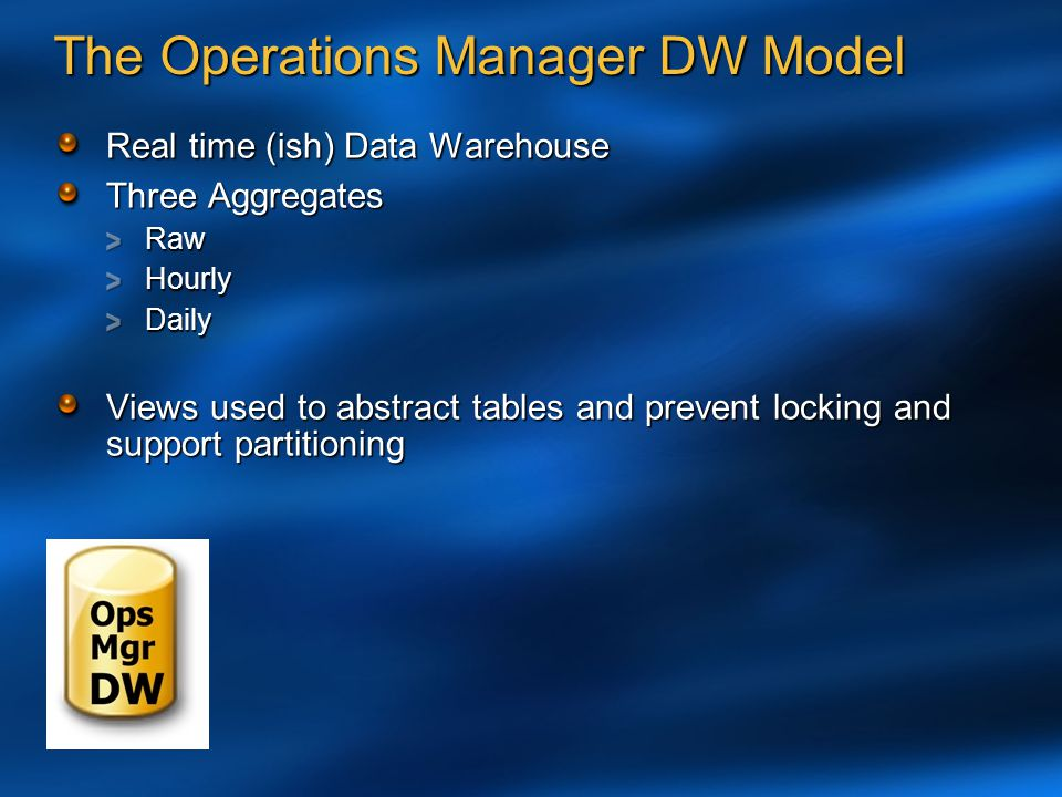 The Operations Manager DW Model