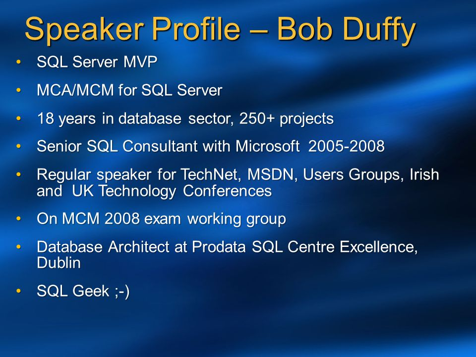 Speaker Profile – Bob Duffy