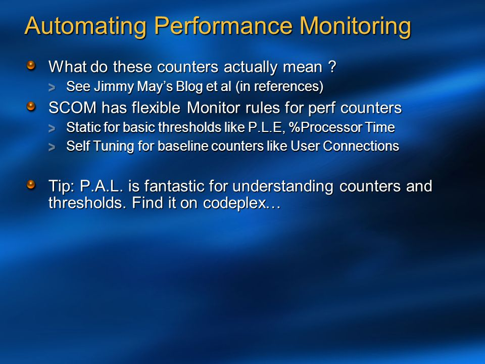 Automating Performance Monitoring