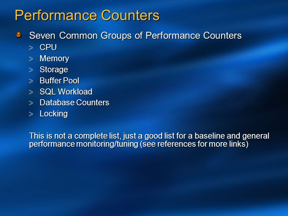 Performance Counters Seven Common Groups of Performance Counters CPU