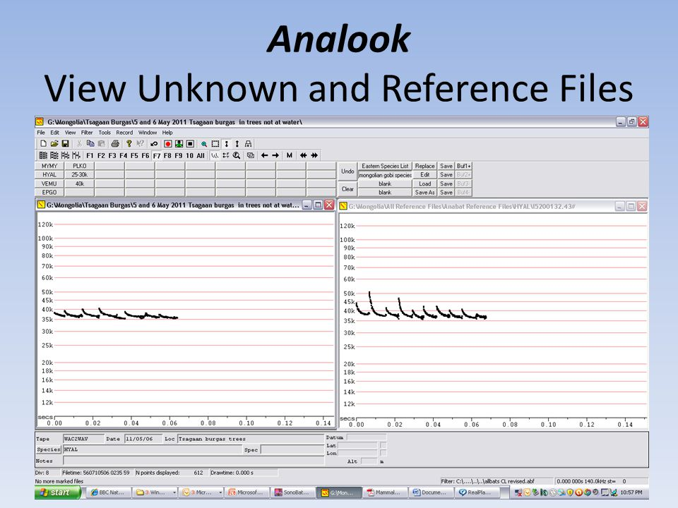 Analook View Unknown and Reference Files