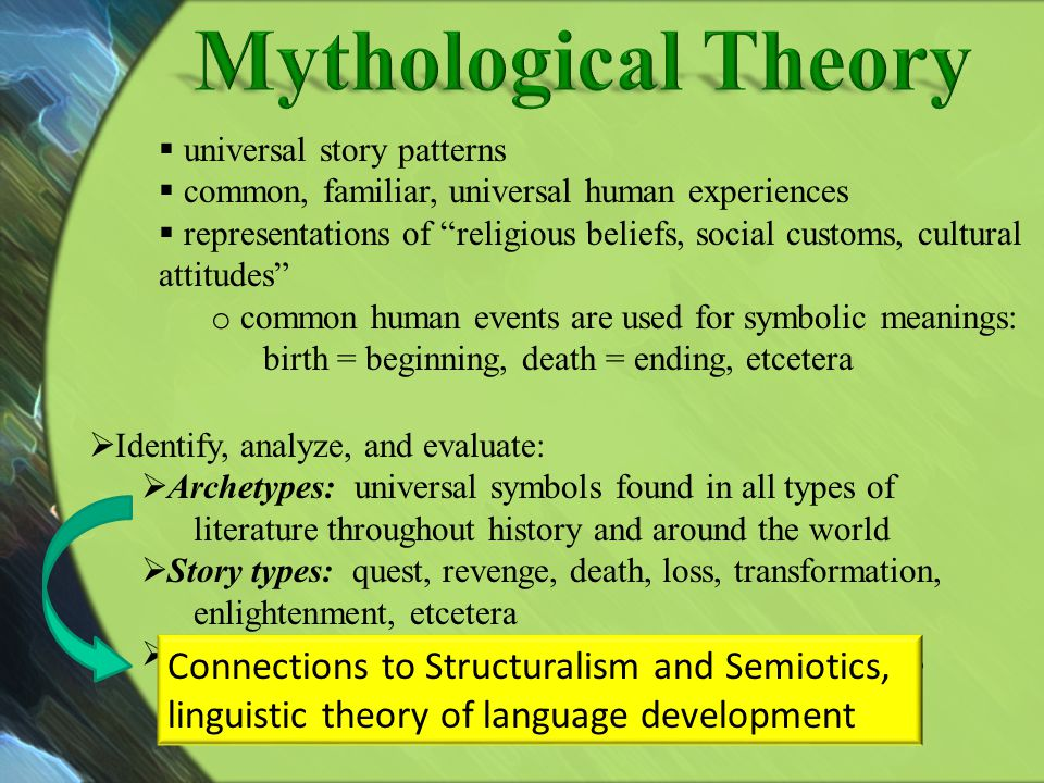 Mythological Theory universal story patterns. common, familiar, universal human experiences.