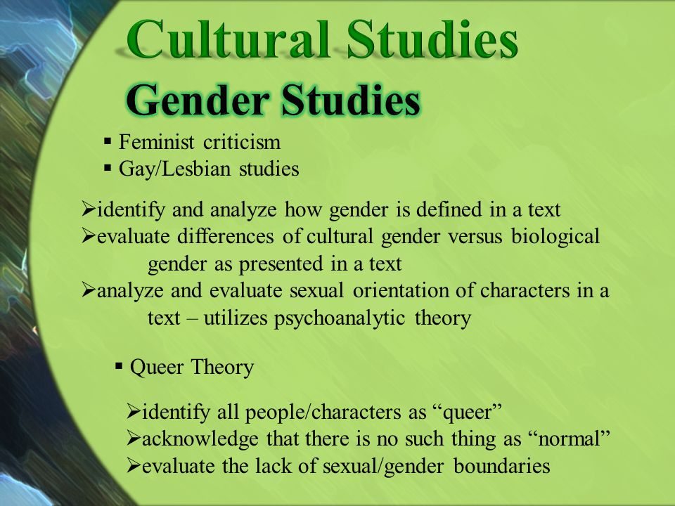Cultural Studies Gender Studies Feminist criticism Gay/Lesbian studies