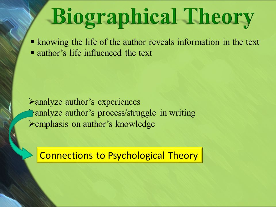 Biographical Theory Connections to Psychological Theory