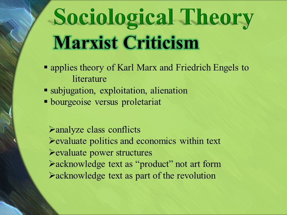 Sociological Theory Marxist Criticism