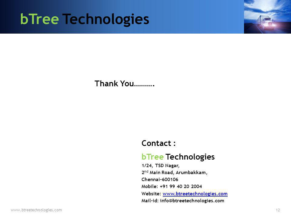 bTree Technologies Thank You………. Contact : bTree Technologies