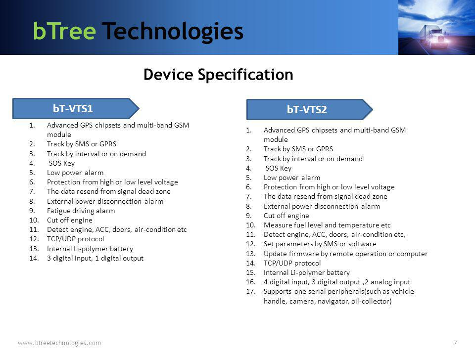 bTree Technologies Device Specification bT-VTS1 bT-VTS2