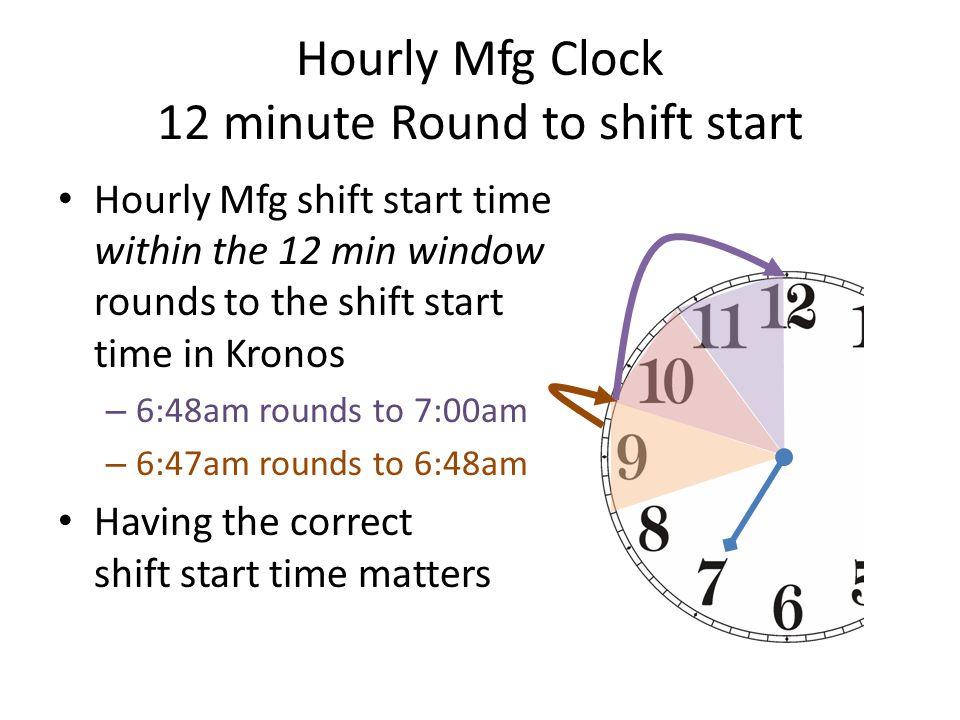 Hourly Mfg Clock 12 minute Round to shift start